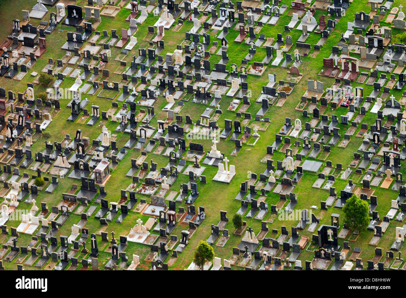 Aerial view of a graveyard and tombstones.Johannesburg,South Africa - Stock Image