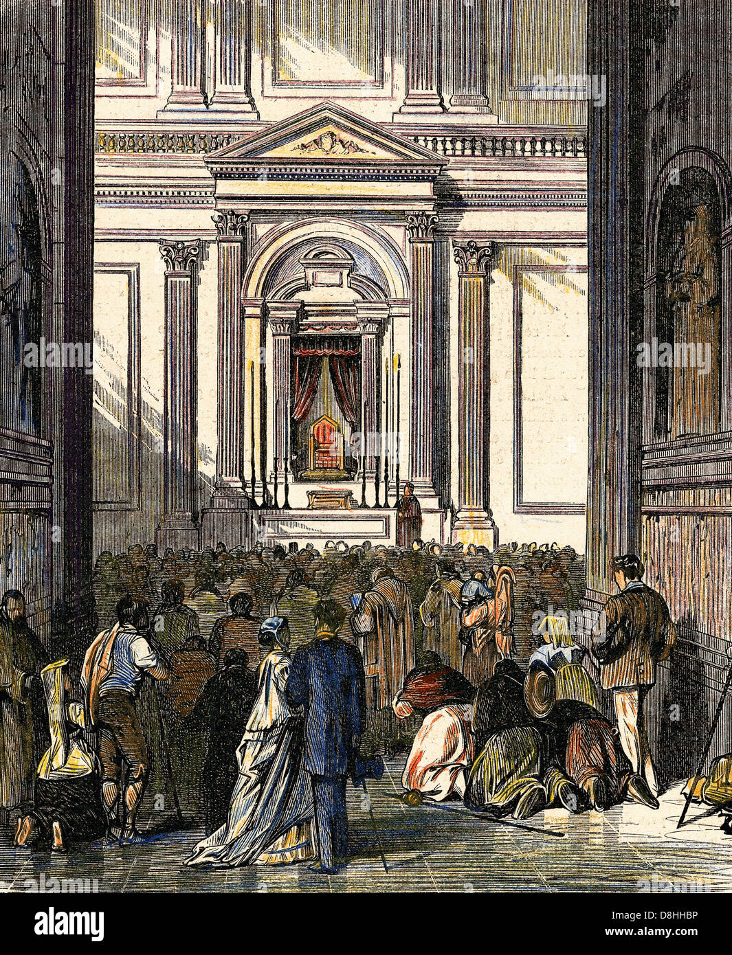 Italy. Rome. Ecumenical Council. The Chair of St. Peter. Engraving in 'The Spanish and American Illustration', - Stock Image