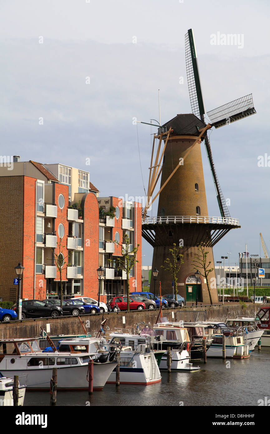 Netherlands, Rotterdam, Delfshaven, windmill, Stock Photo