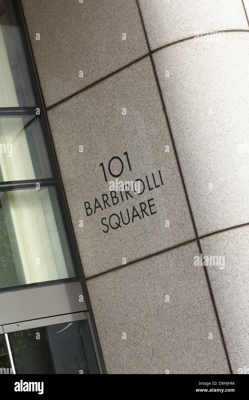 Entrance to 101 Barbirolli Square Manchester; the building houses some well known corporates including Price Waterhouse - Stock Image