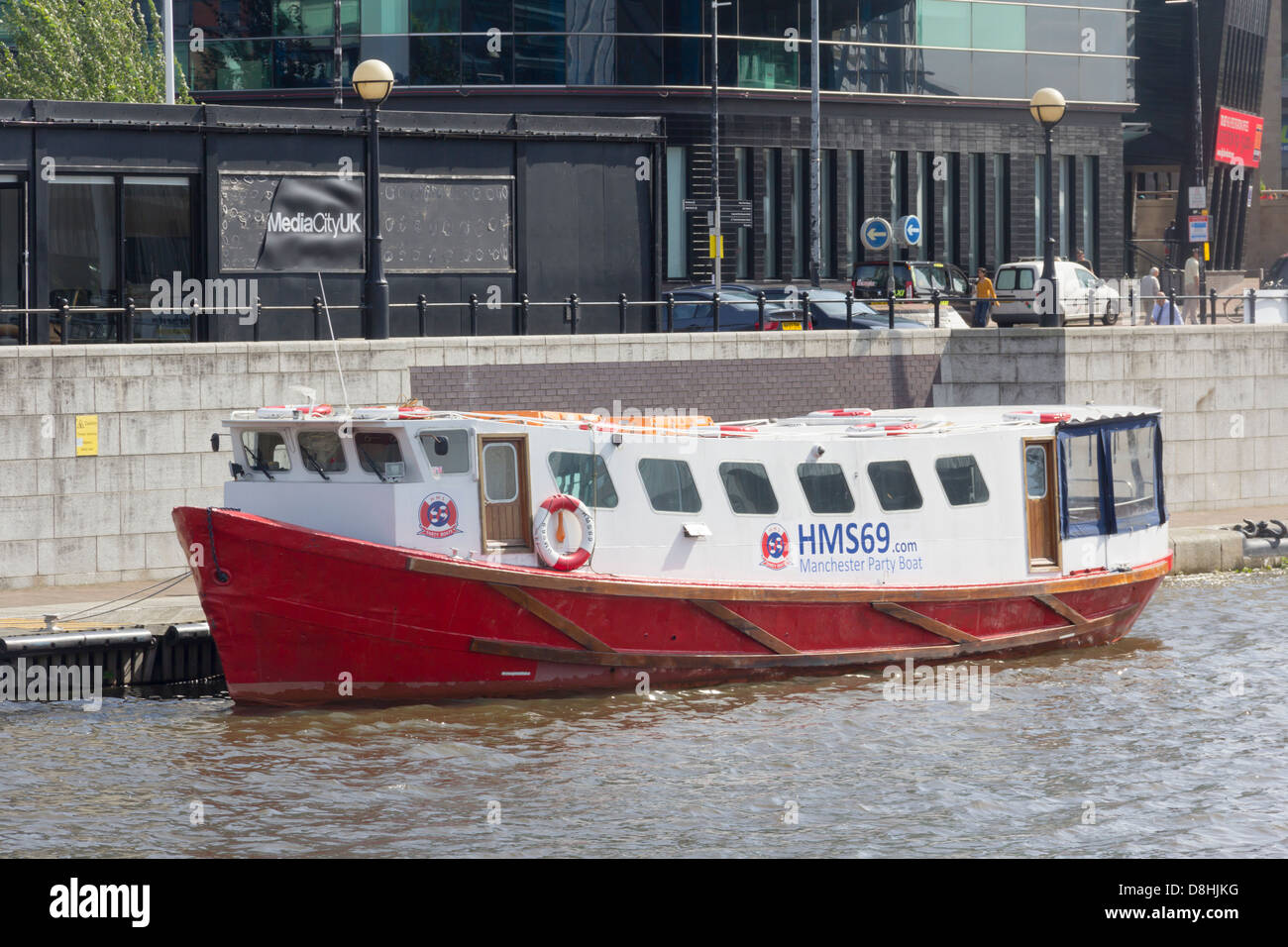HMS69 Manchester Party Boat, private hire specialising in private hire party groups. Moored at Salford Quays, England Stock Photo