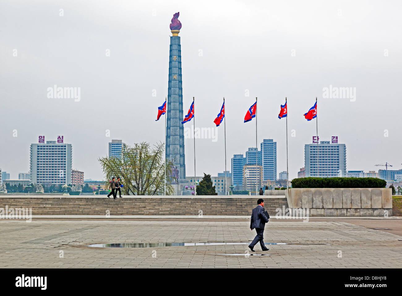 Democratic Peoples's Republic of Korea (DPRK), North Korea, Pyongyang, Juche Tower and the Taedong river - Stock Image