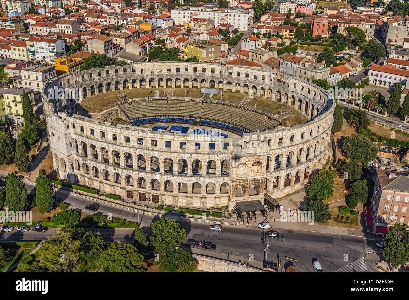 Roman time arena in Pula, detail, Croatia. UNESCO world heritage site. - Stock Image