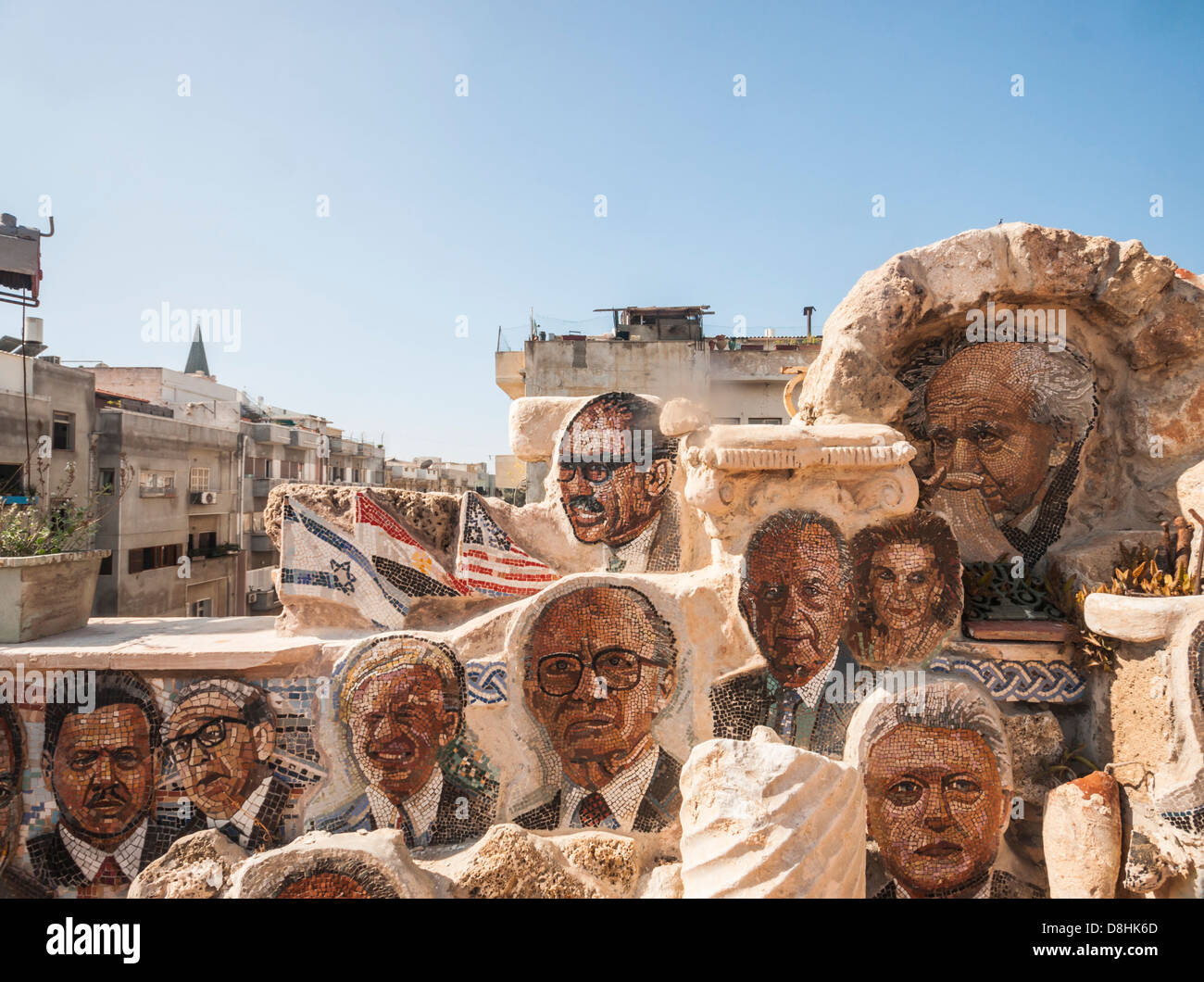 "Israel. Yossi Lugasi's ""Mosaic House"" in Jaffa, covered from the inside and the outside by more than 600 portraits Stock Photo"