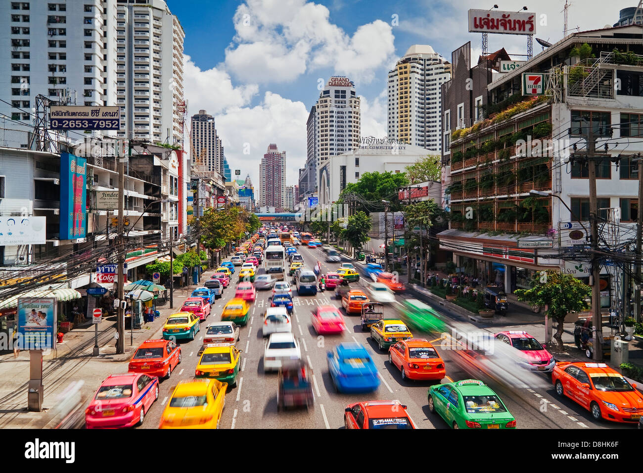 Traffic congestion in Central Bangkok, Thailand, South East Asia - Stock Image