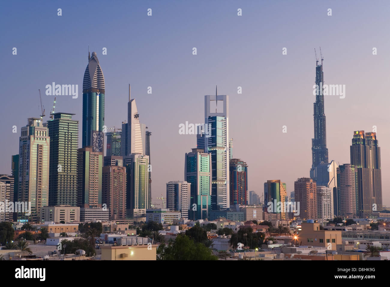 Dubai Elevated View Of The New Dubai Skyline Of Modern Architecture