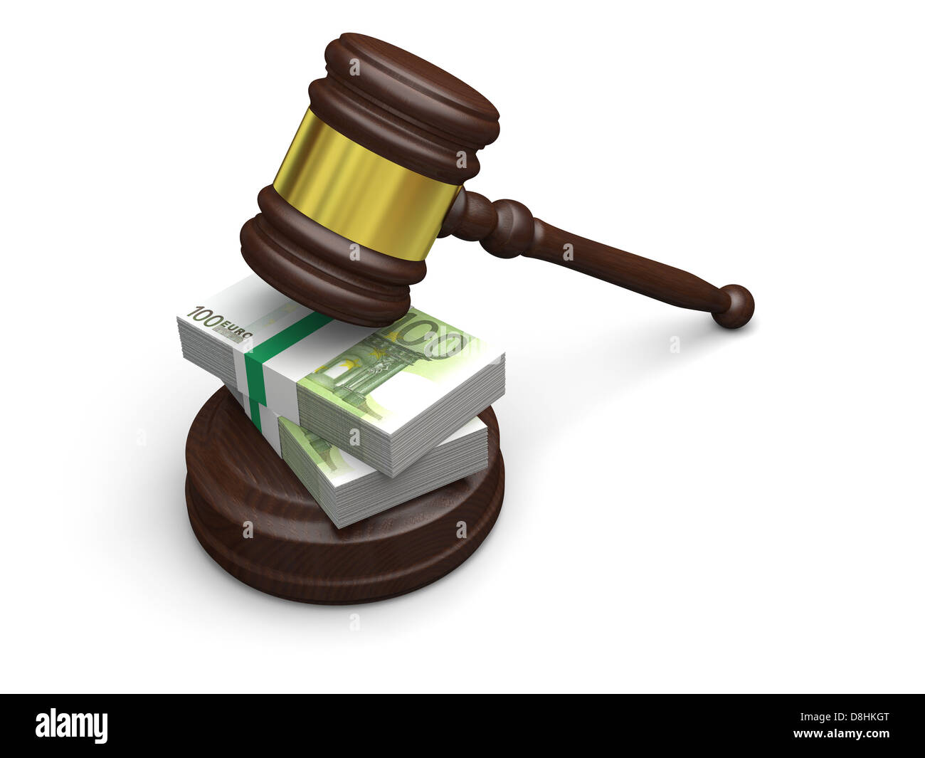 Money in justice, concept of high legal fees, corruption of financial law - Stock Image