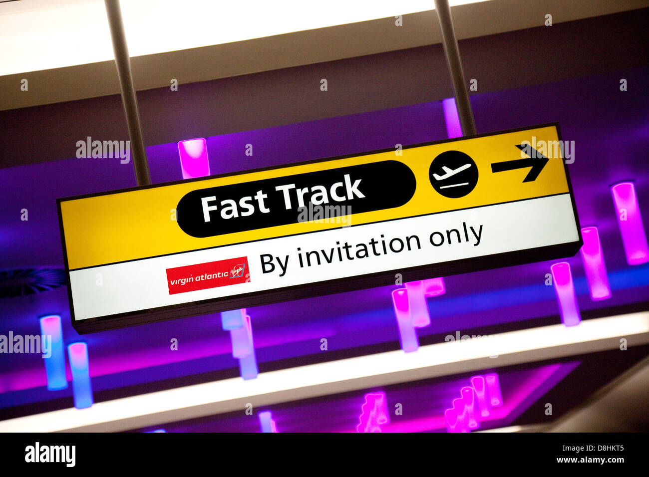 Virgin Atlantic Fast Track sign, terminal 3, Heathrow airport UK - Stock Image