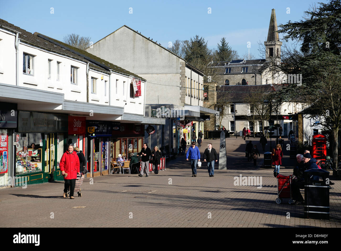 Milngavie Town Centre pedestrian precinct at the start of the West Highland Way, East Dunbartonshire, Scotland, - Stock Image