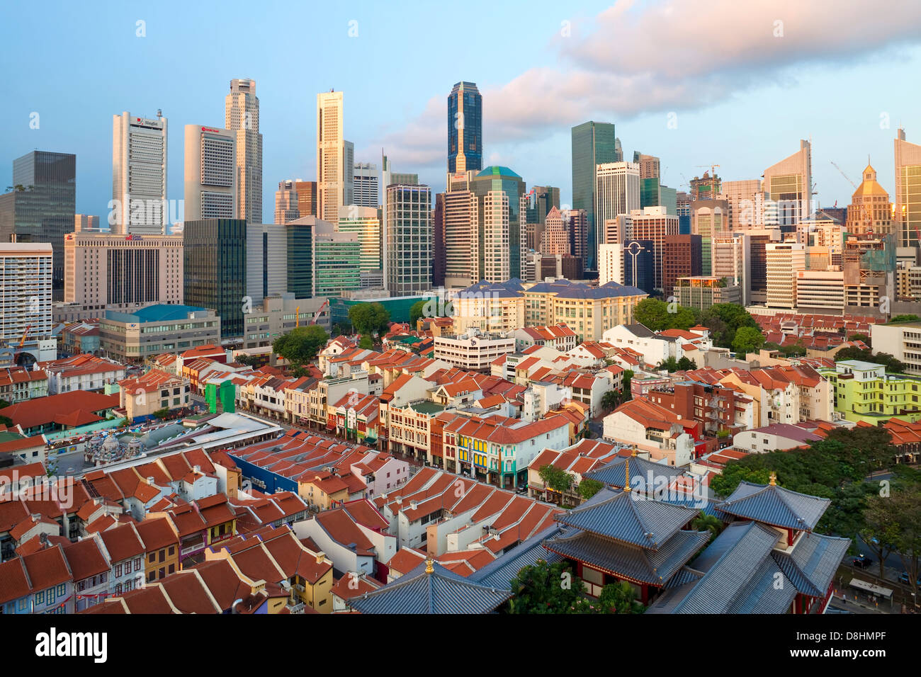 Elevated view over Chinatown, the new Buddha Tooth Relic temple and modern city skyline, Singapore, Asia - Stock Image