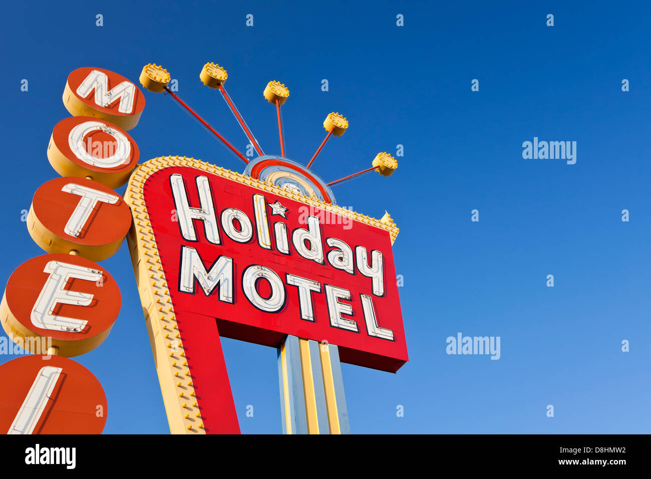 United States of America, Nevada, Las Vegas, The Strip, Motel sign - Stock Image