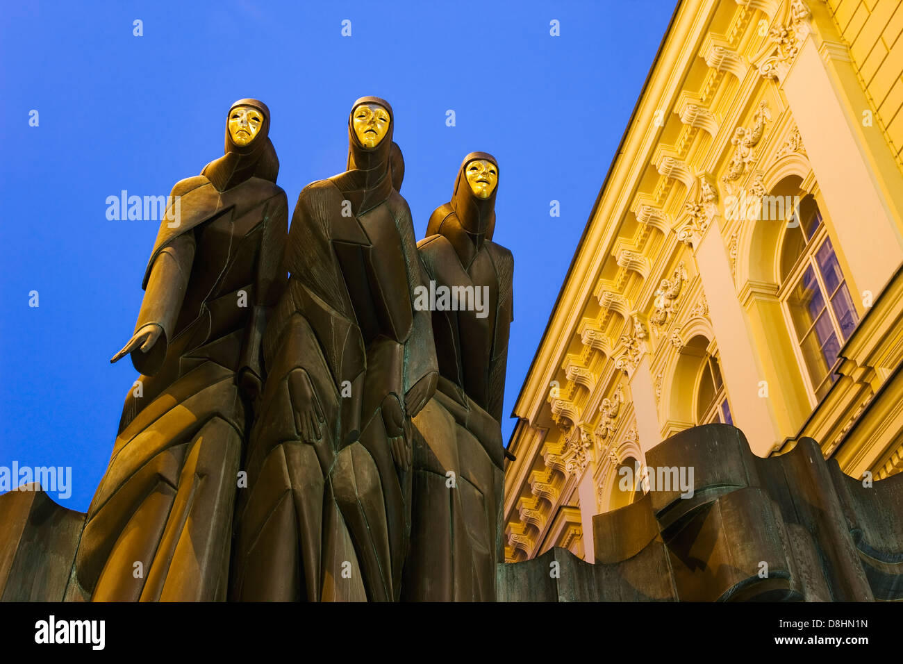 Baltic States, Lithuania, Vilnius, National Drama Theatre, Sculpture of the Feast of the three musicians - Stock Image