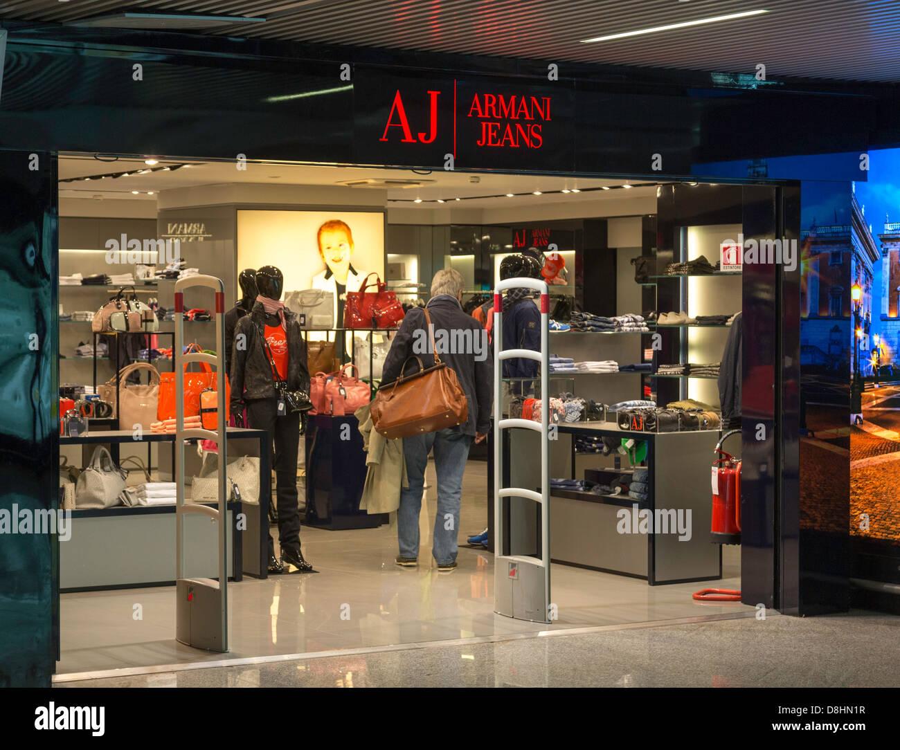 ceb48ad2df Armani Jeans shop, Fiumicino Airport, Rome, Italy Stock Photo ...