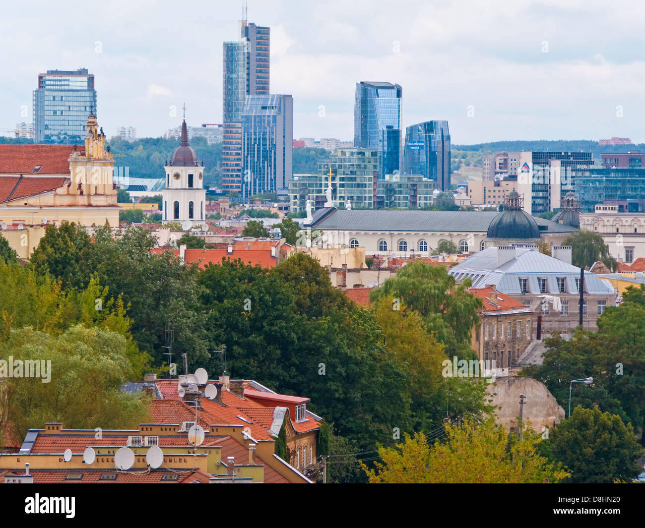 Baltic States, Lithuania, Vilnius, elevated view of the new city skyline - Stock Image