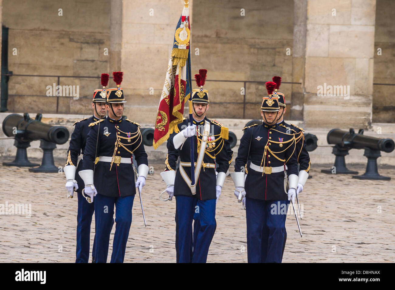 Les Invalides, Paris, France. Soldiers of a Honor Guard during an official reception for the President of Poland. Stock Photo