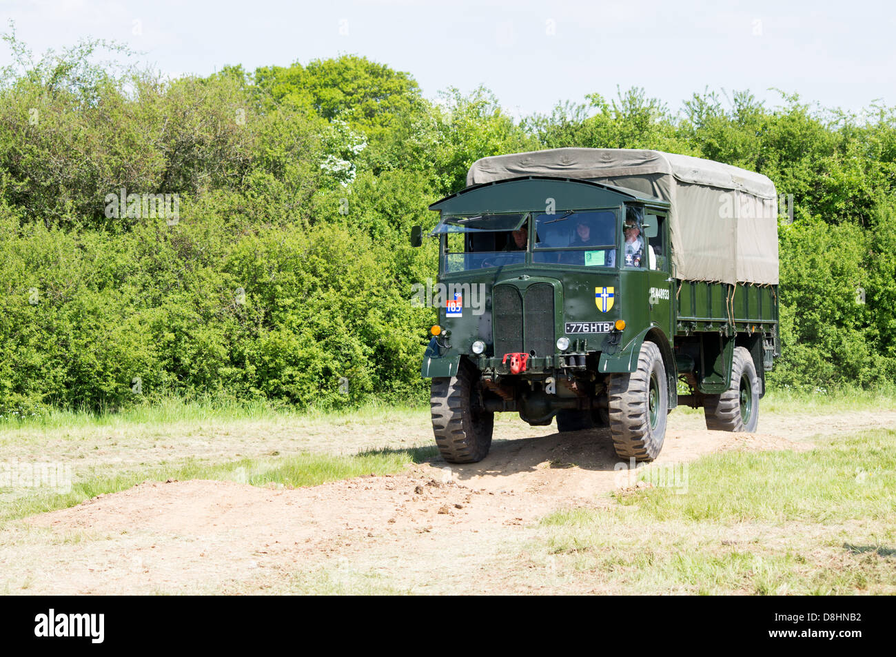 A British Army AEC Matador Artillery Tractor being driven around on display at the 2013, Denmead Overlord, D_Day - Stock Image