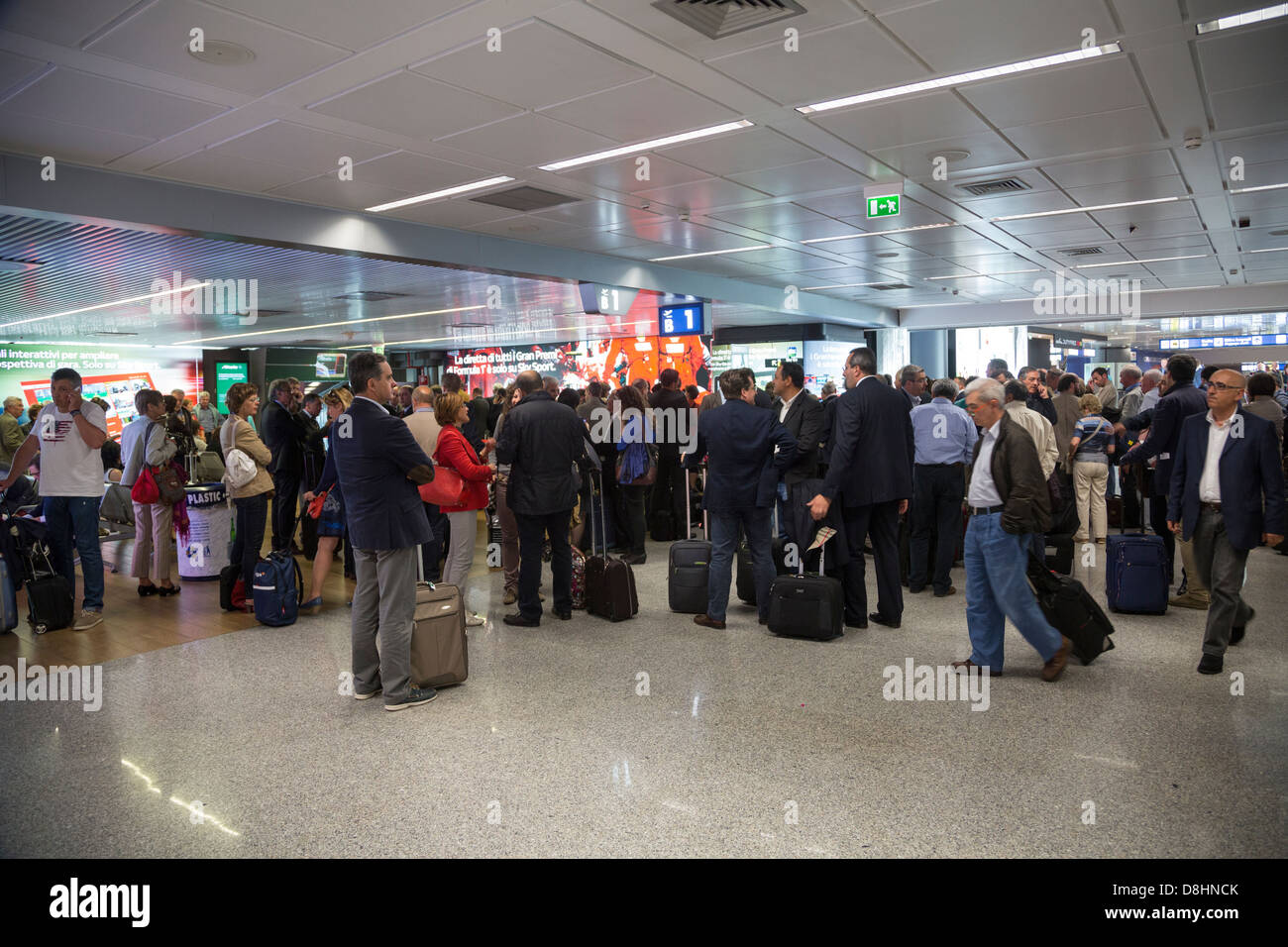 busy scene at Fiumicino Airport, Rome, Italy - Stock Image