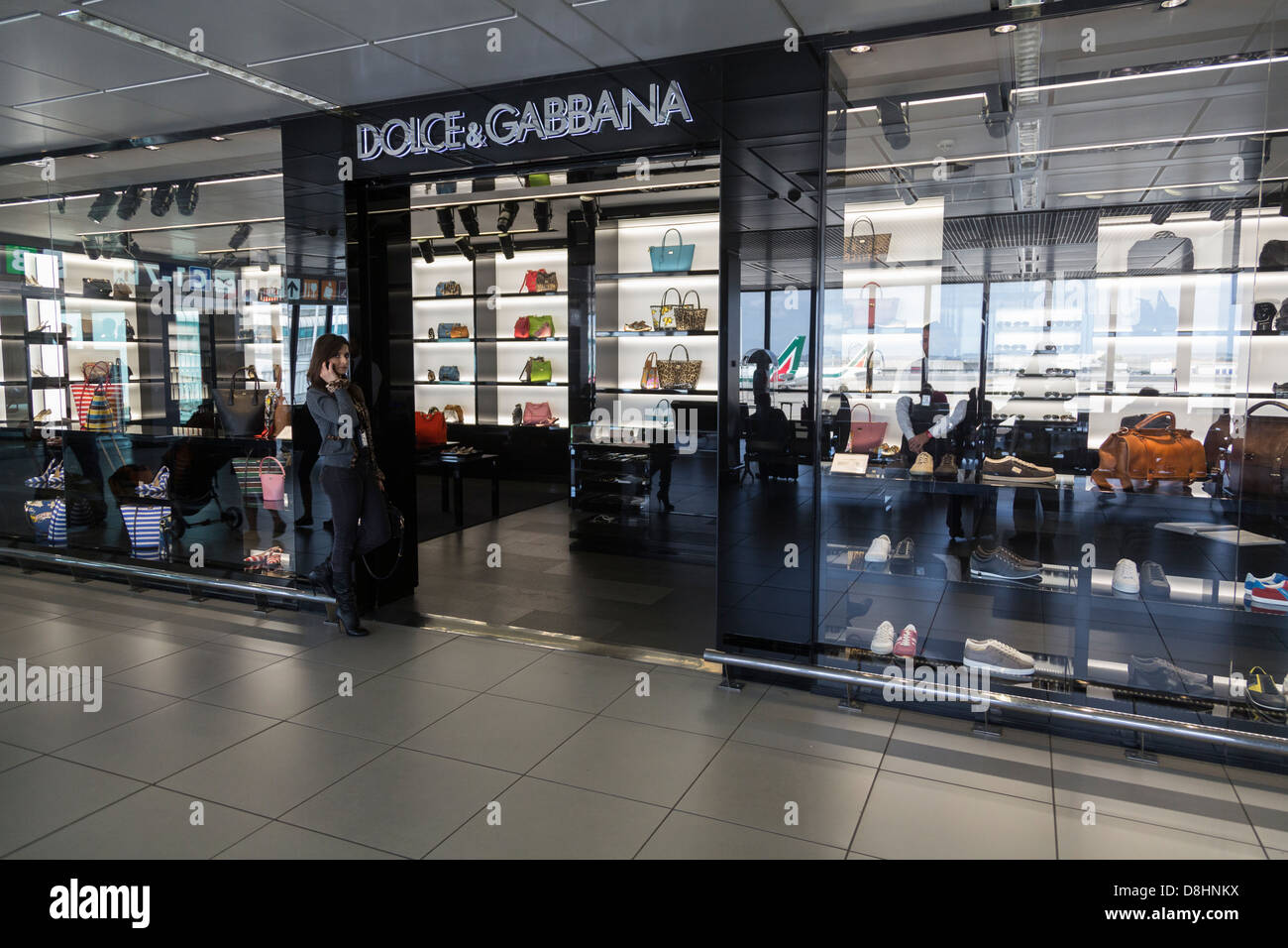 Dolce & Gabbbana shop Fiumicino Airport, Rome, Italy - Stock Image