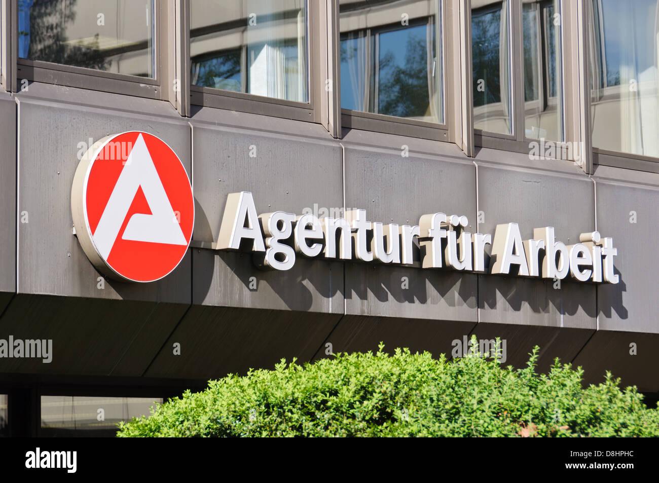 """Agentur für Arbeit"" sign and logo, German employment agency – Heilbronn Germany - Stock Image"