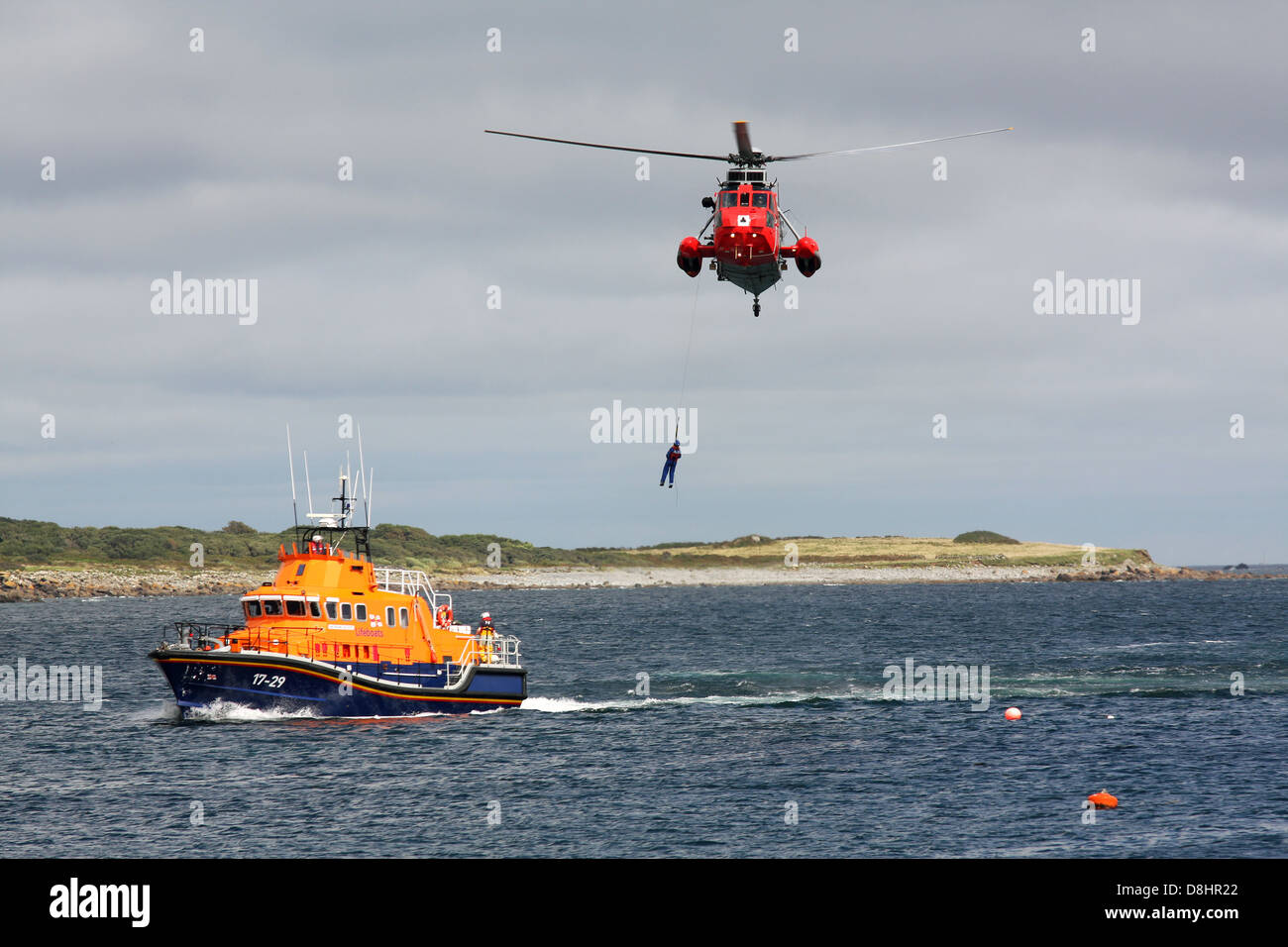 RNLI Rescue Demonstration, winching from boat - Stock Image
