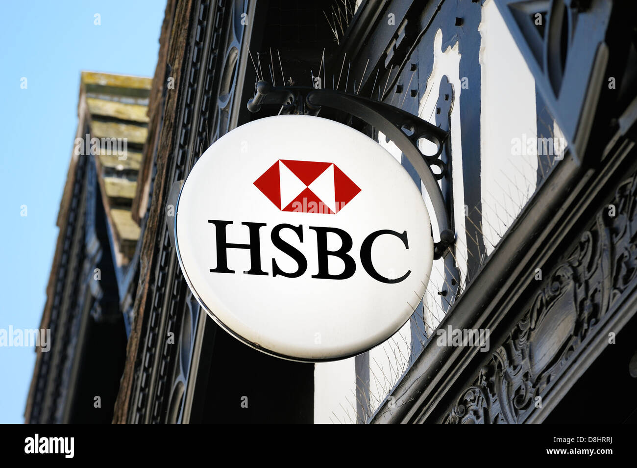 HSBC logo high street bank sign outside branch of HSBC bank in the Shropshire town of Ludlow, England Stock Photo