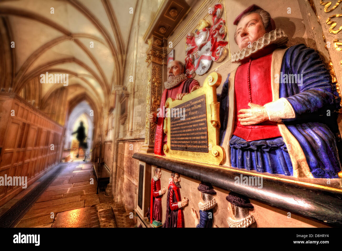 Southwark Cathedral interior London, the Tre-hearne statue with a woman in the distance - Stock Image