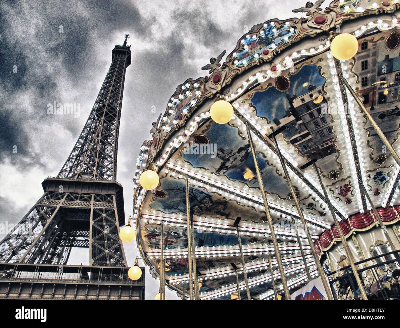 Paris Tour Eiffel Tower Carousel Champ de Mars at Dusk Stock Photo