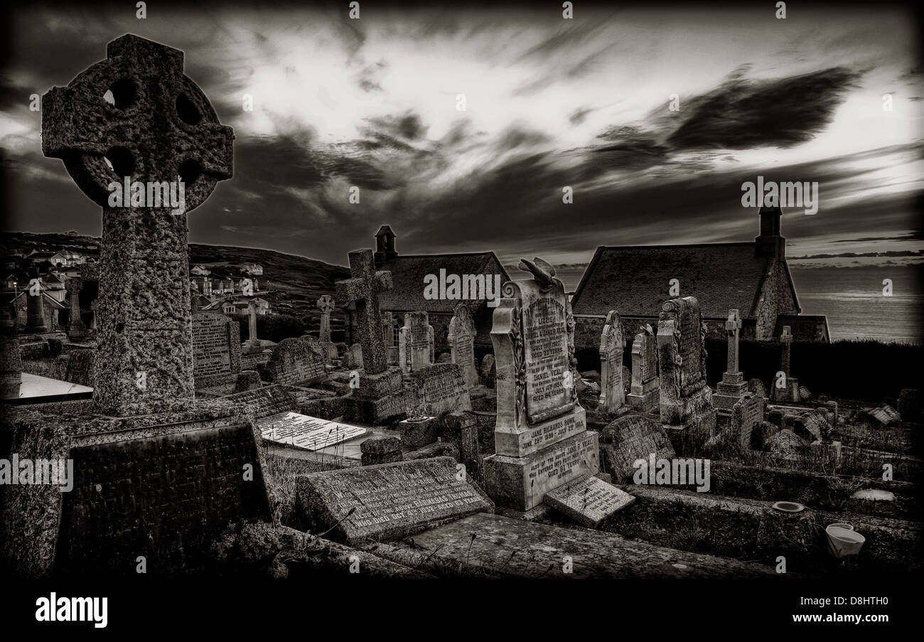 Barnoon Church and Graveyard , St Ives South Cornwall in mono , England UK - Stock Image