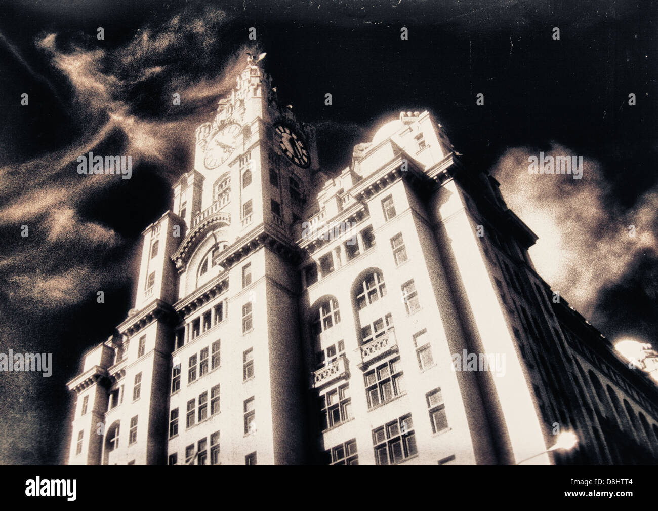 Ghostly view of The Liver Building Pier Head Liverpool in monochrome - Stock Image
