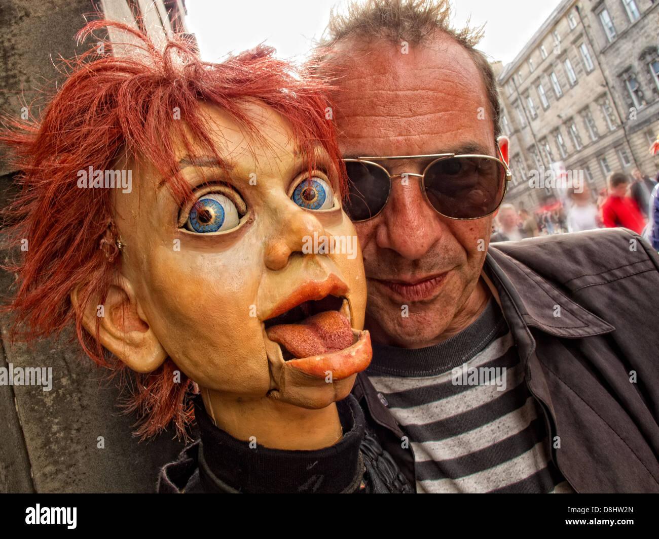 Edinburgh Festival Fringe Act, Scotland, UK, EH1 1QS - Stock Image