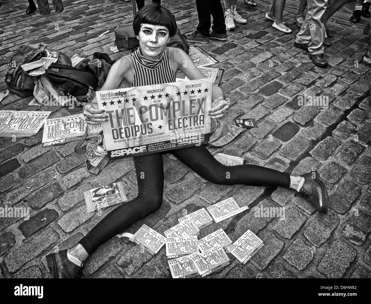 Edinburgh Festival Fringe Act, Scotland, UK, EH1 1QS - Stock Image