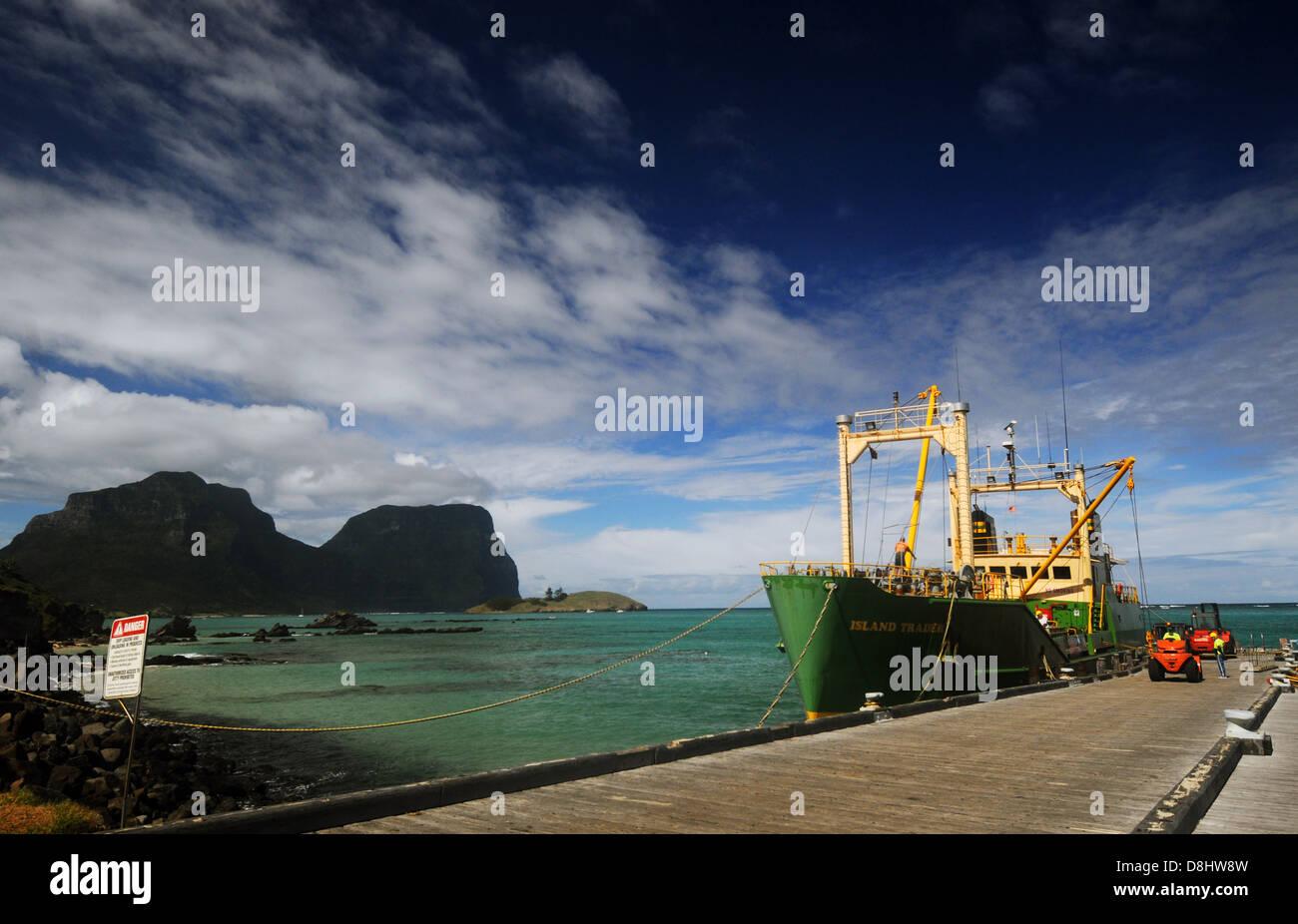 Resupply ship 'Island Trader' at dock, Lord Howe Island, Australia. No PR or MR - Stock Image