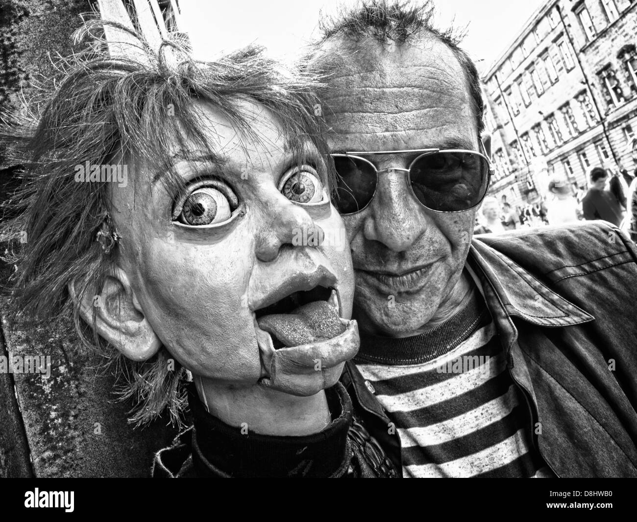 Jud Charlton & Phillis,Ventriloquist, Edinburgh Festival Fringe Act, Scotland, UK, EH1 1QS - Stock Image