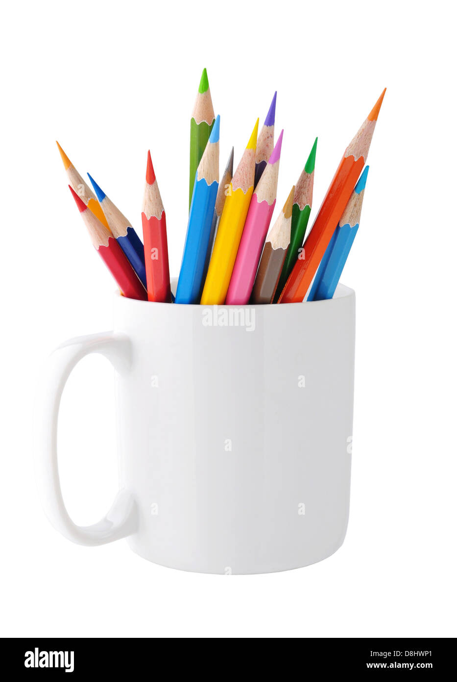 Color pencils with clipping path - Stock Image