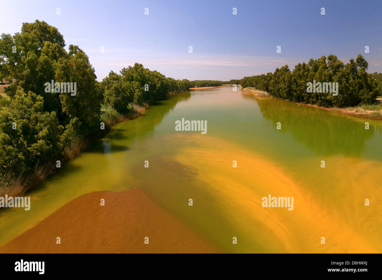 Pollution, Odiel river, Gibraleon, Huelva-province, Region of Andalusia, Spain, Europe - Stock Image