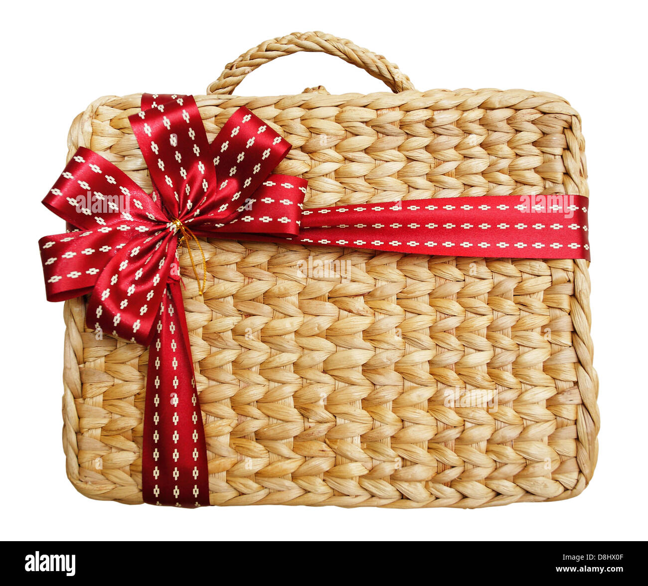 A gift box in a basket on white background - Stock Image