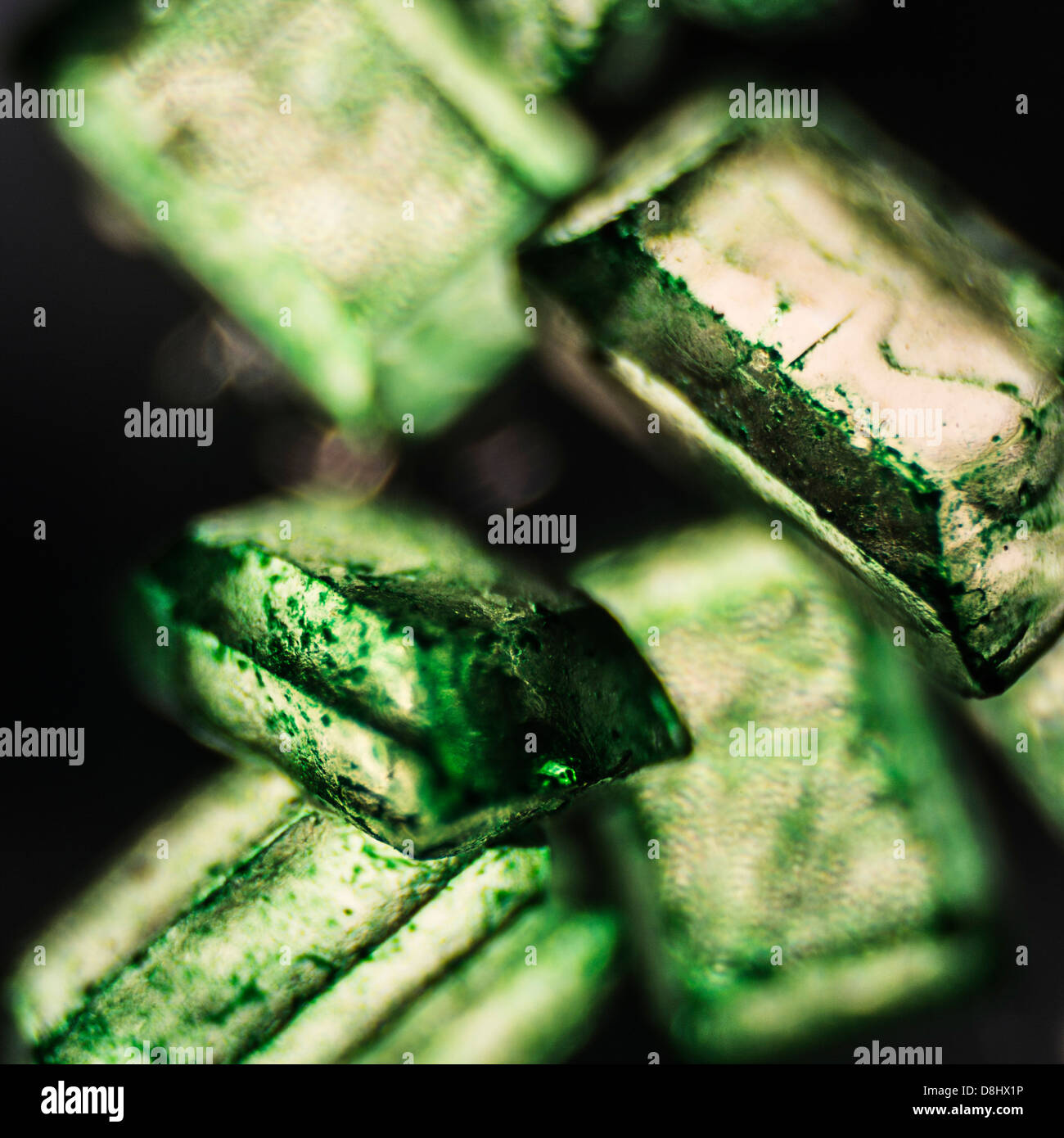 A series of microscopic and macroscopic images depicting ingredients used in the kitchen. - Stock Image