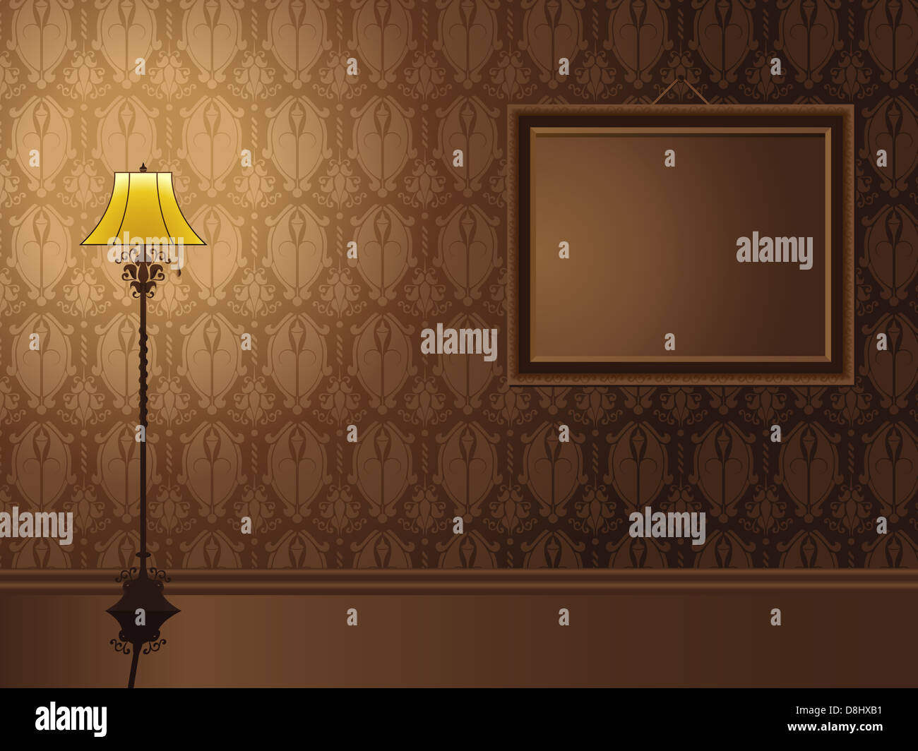 Vintage Frame hanging on wall with antique lamp. Editable Vector Illustration - Stock Image