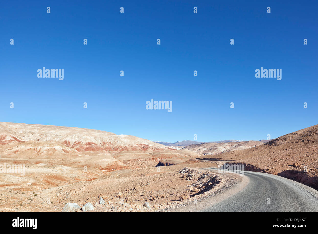 High Atlas Mountains against clear blue sky. - Stock Image