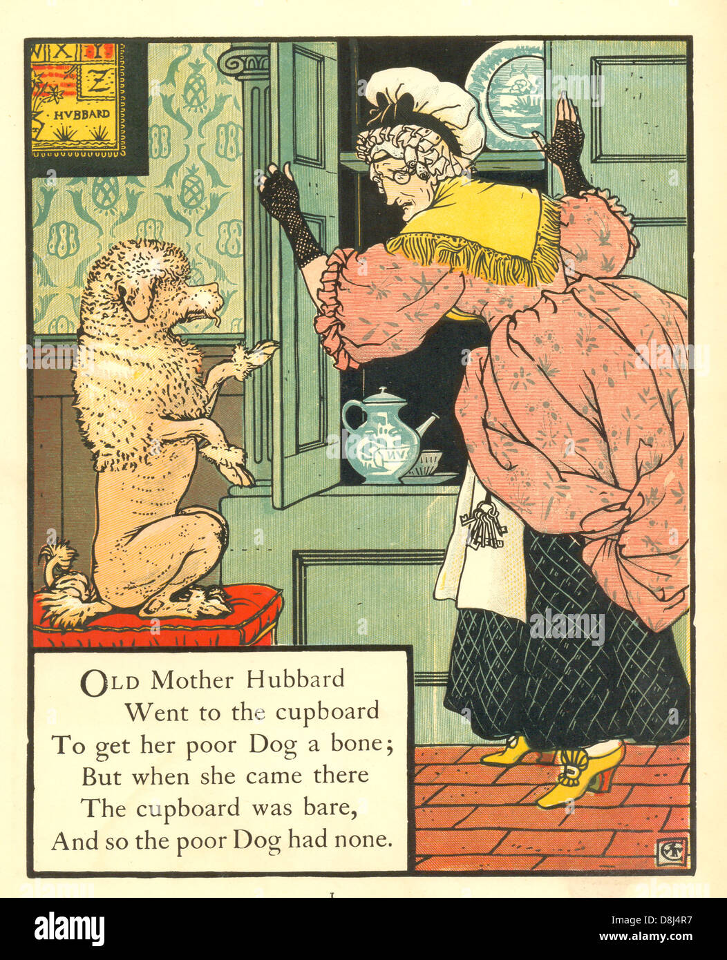 A page from Mother Hubbard illustrated by Walter Crane. - Stock Image