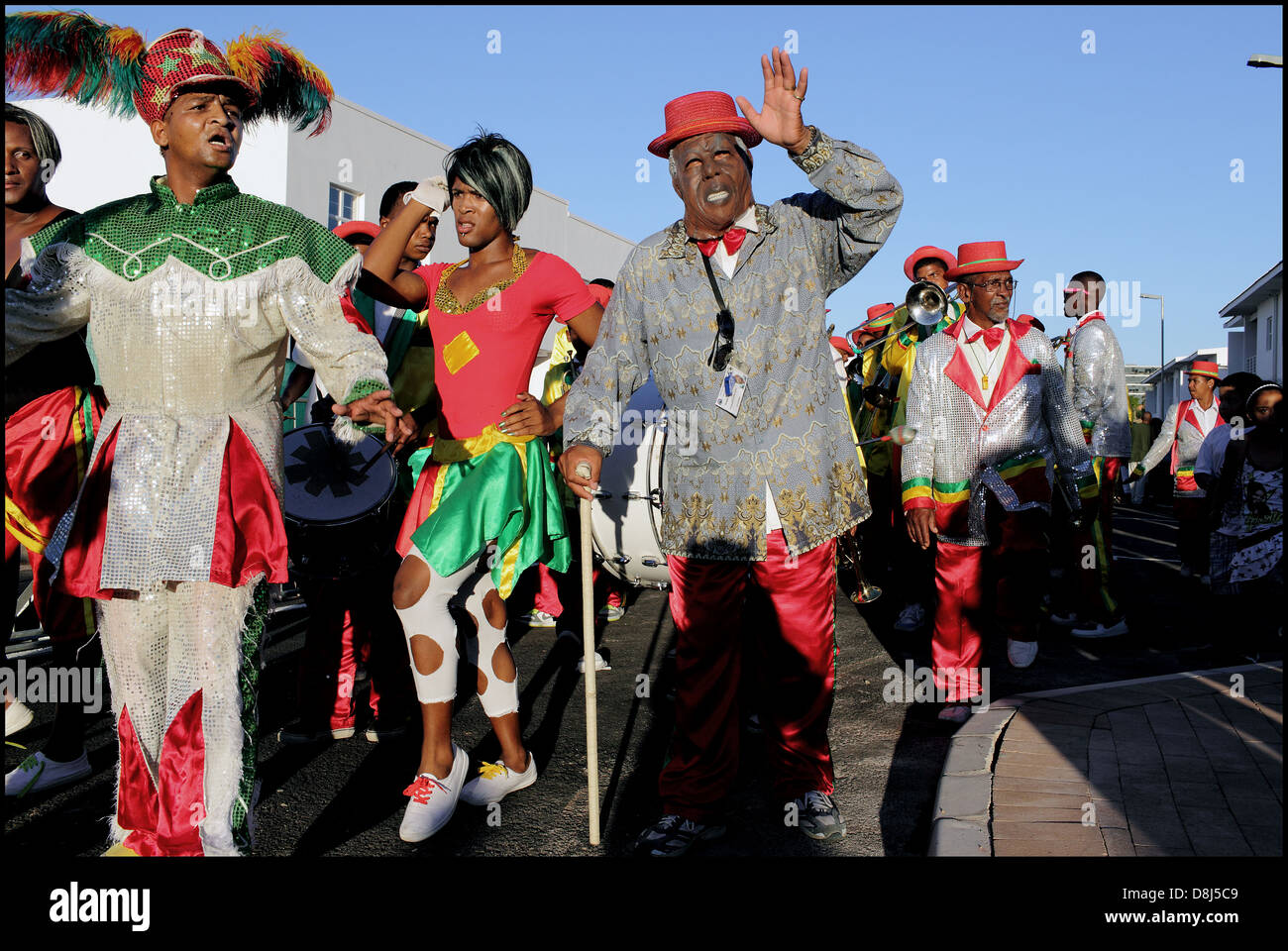 Minstrels march at District Six housing handover,Cape Town, - Stock Image