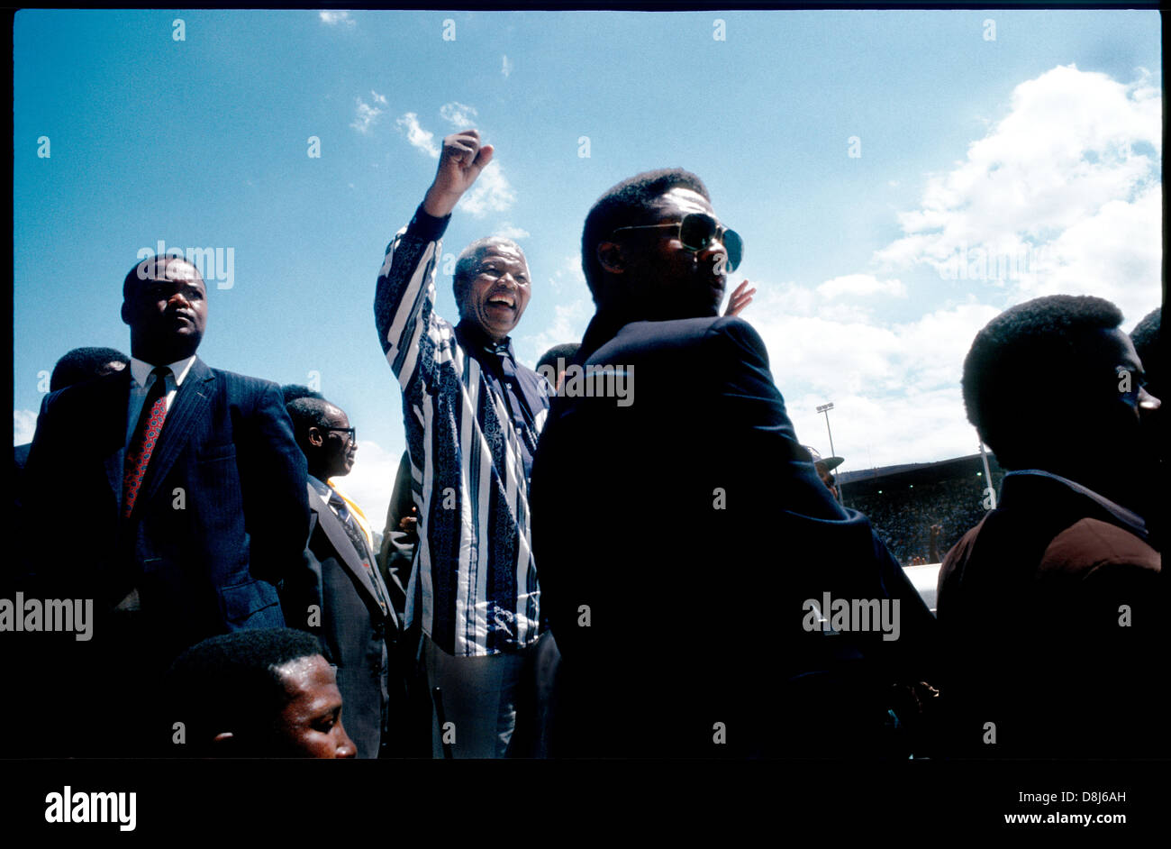 Nelson Mandela,ANC election campaign rally,Paarl,Western Cape,1994 - Stock Image