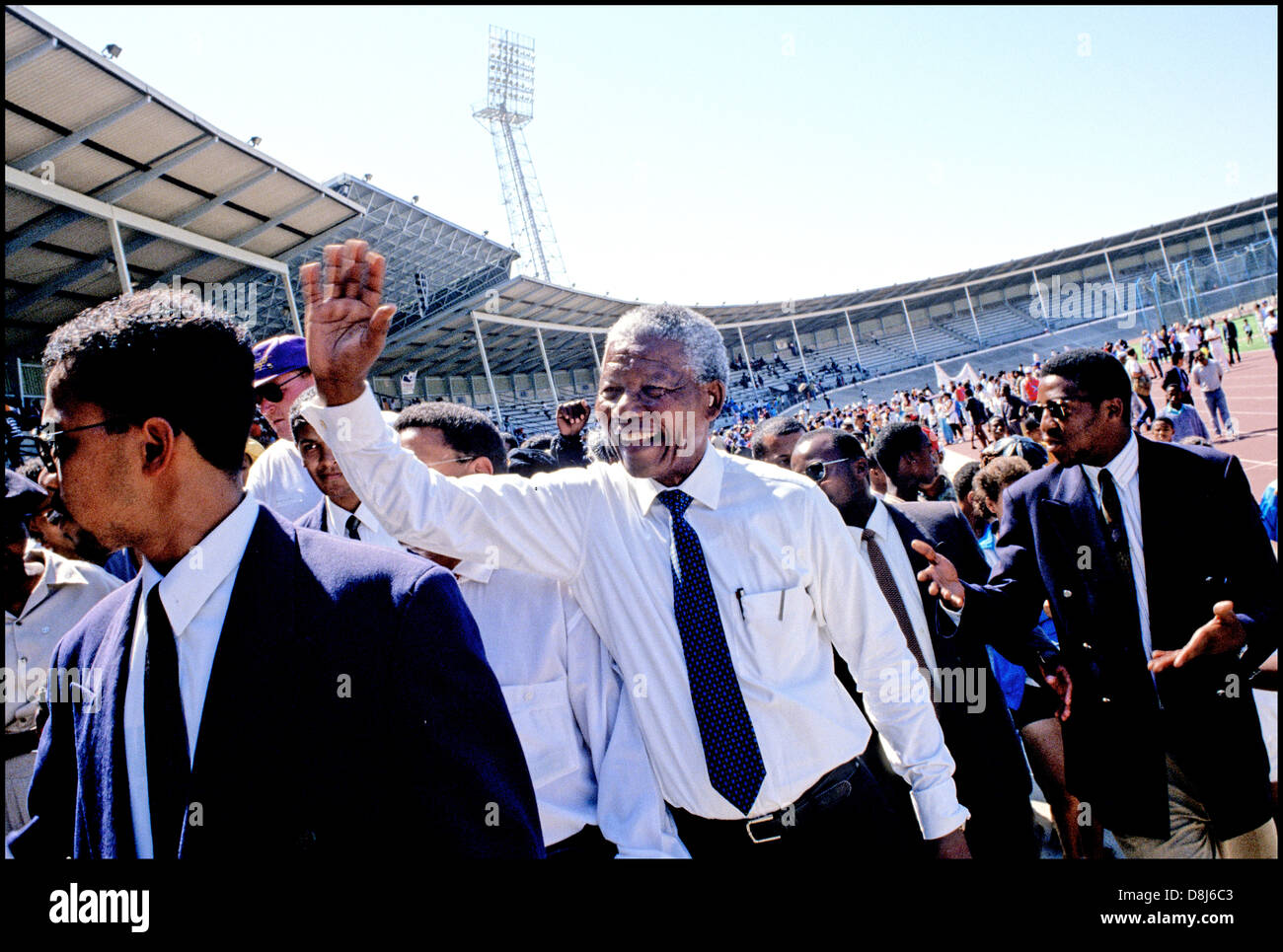Nelson Mandela,ANC election campaign,Green Point Stadium,Cape Town,Western Cape,1994 - Stock Image