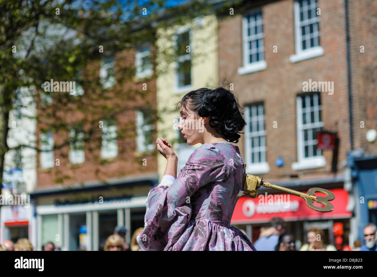 Canadian mime Kate Mior hams it up at the 2013 York Buskival. A street performance on Parliament Street, York - Stock Image