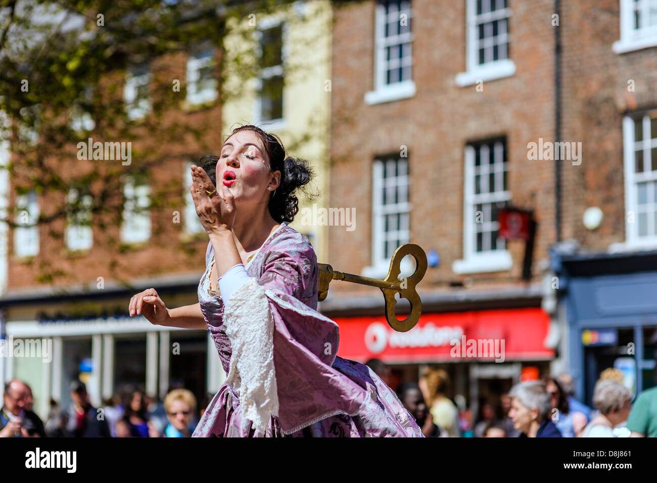 Canadian mime artist Kate Mior blows a kiss whilst performing in the centre of York for at the 2013 Buskival Festival. - Stock Image