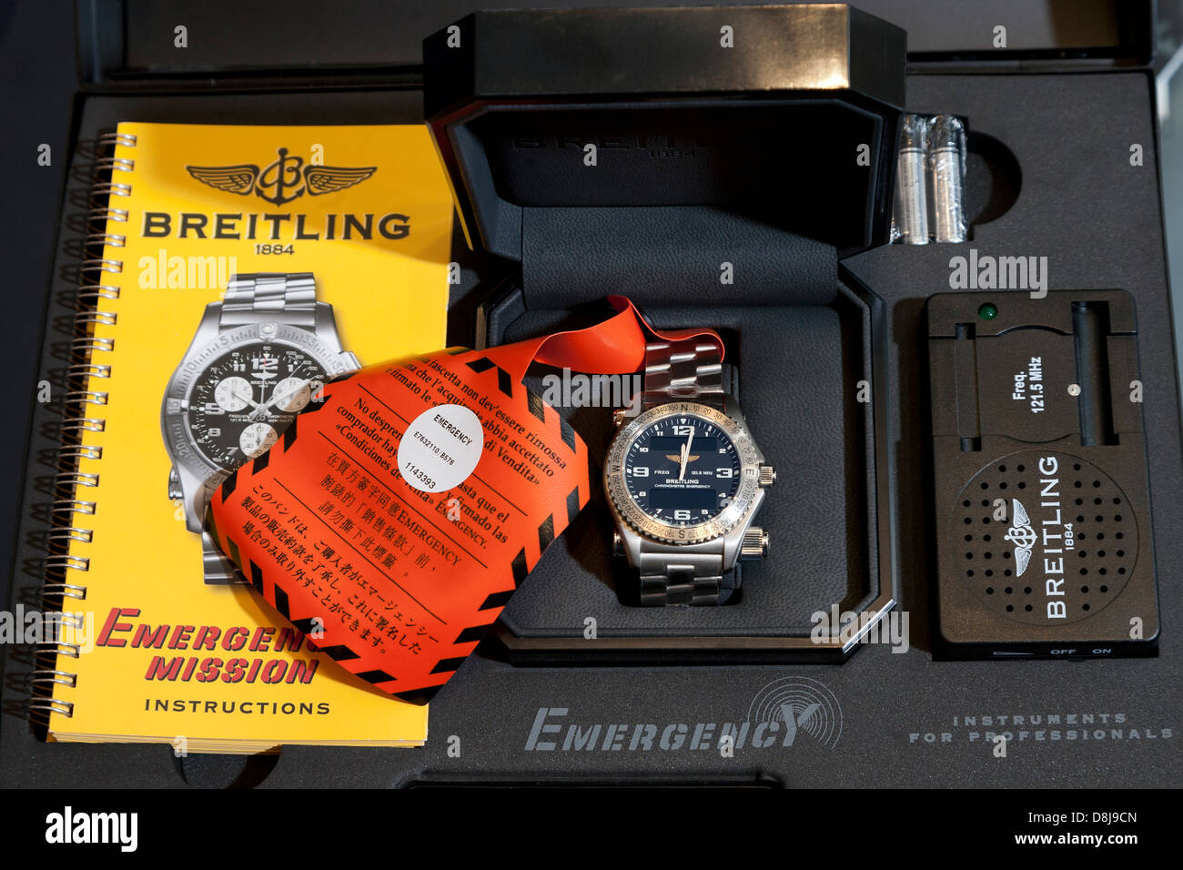 Breitling Emergency Mission Watch In Presentation Case Stock Photo