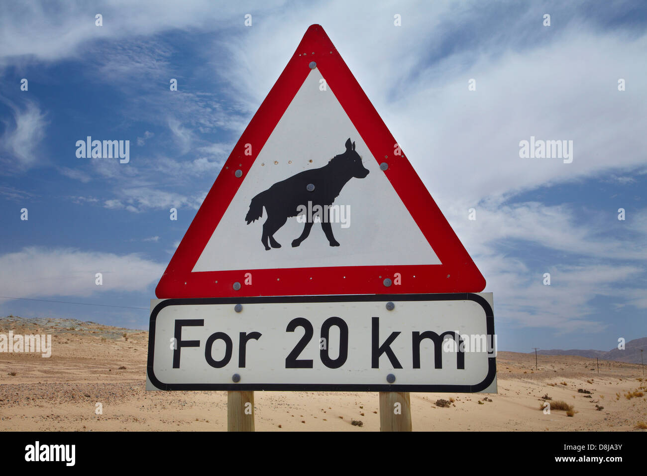 Brown Hyena road warning sign on B4 road between Aus and Luderitz, Southern Namibia, Africa Stock Photo