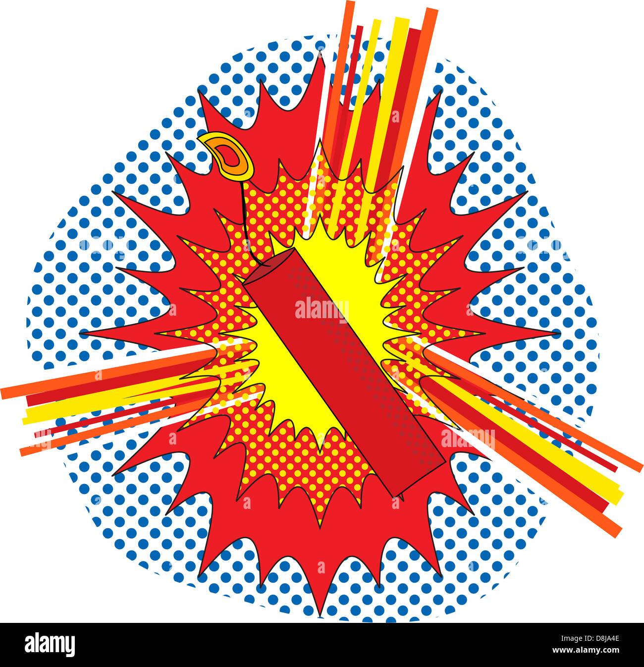 TNT Dynamate in a pop art cartoon explosive style - Stock Image