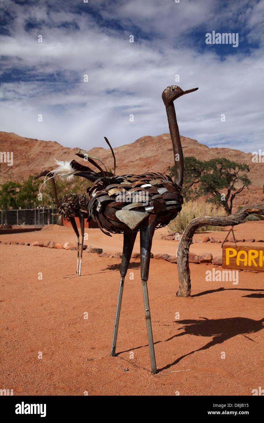Metal ostrich sculpture, Ranch Koiimasis, Tiras Mountains, Southern Namibia, Africa - Stock Image