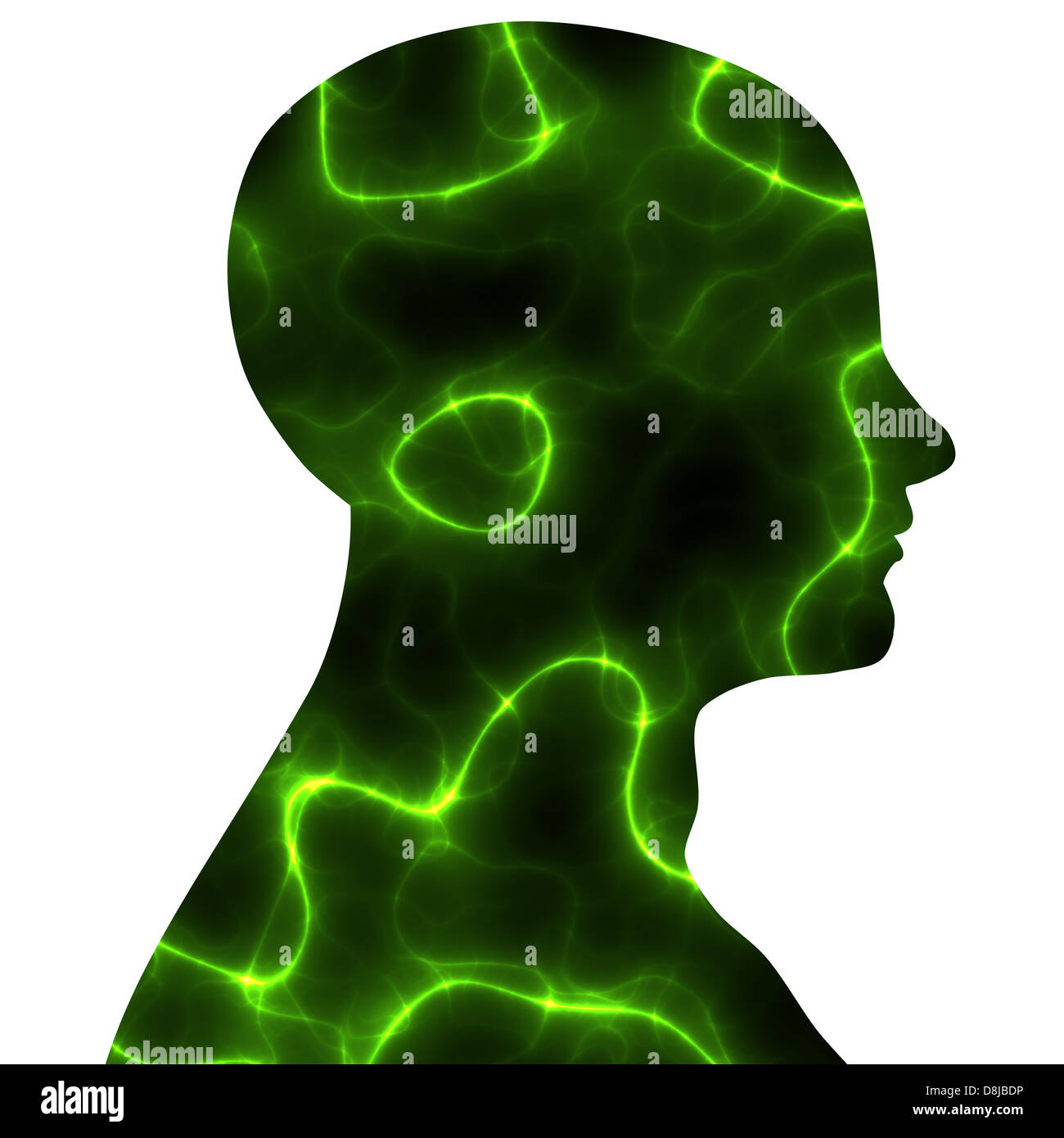 brain electricity in green - Stock Image